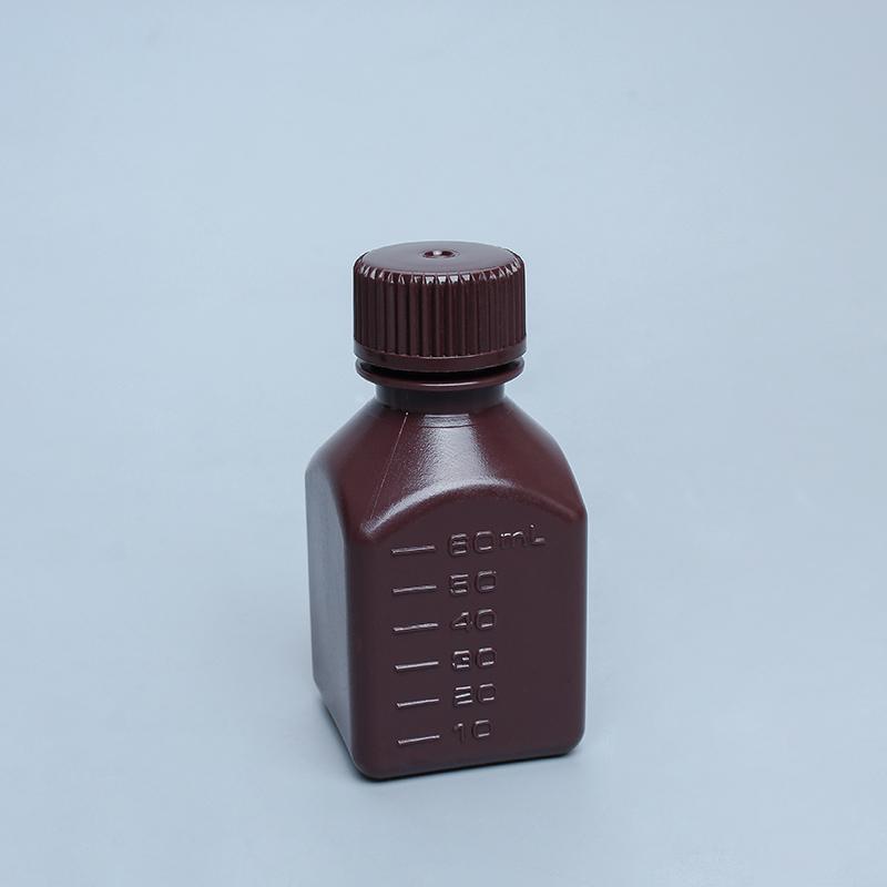 小口方形塑料瓶棕色透明